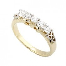 14k Yellow Gold Diamonds Claddagh Eternity Ring
