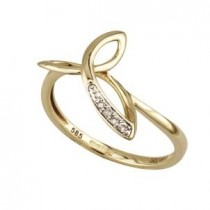 14k Yellow Gold with Diamonds Ladies Irish Trinity Ring