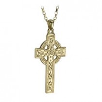 14k Yellow Gold Large Irish Celtic Cross Pendant