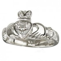 18K White Gold Diamond Irish Claddagh Engagement Ring