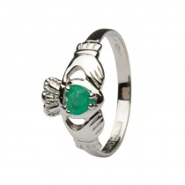Claddagh Heart Emerald Set Engagement Ring White Gold