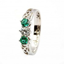 14k Gold  Emerald and Diamond Irish Celtic Engagement Ring14k Gold  Emerald and Diamond Irish Celtic Engagement Ring