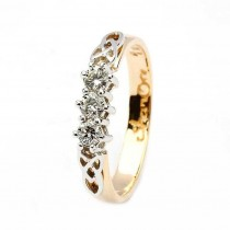 Celtic engagement ring 14k yellow and white 3 stone .25ct