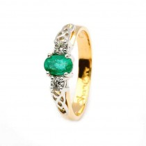 Oval Emerald and Diamond Celtic Trinity 14K Yellow and White Gold 3 Stone Engagement Ring.