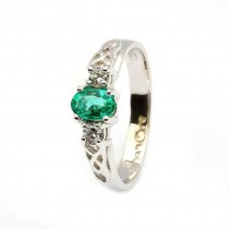 Oval Emerald and Diamond Celtic Trinity 14K White Gold 3 Stone Engagement Ring