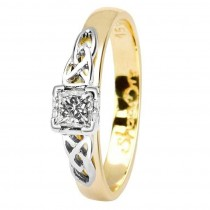 Celtic diamond ring 14k yellow white gold princess cut
