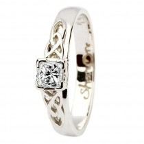 Celtic Solitaire ring 14k white gold princess cut diamond