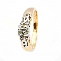 Celtic engagement ring 14k yellow and white gold round cut solitaire