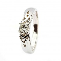 Celtic engagement ring white gold solitaire princess cut diamond Engagement Ring
