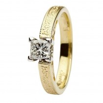 Celtic diamond ring 14k yellow and white gold princess cut