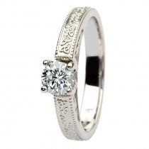Celtic diamond solitaire 14k white gold round cut.
