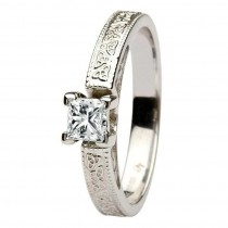 Celtic engagement ring 14k white gold solitaire princess cut diamond