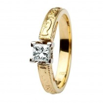 Claddagh Celtic solitaire diamond 14k engagement ring princess cut