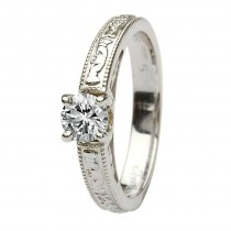 Claddagh celtic solitaire diamond 14k white gold ring round cut engagement ring