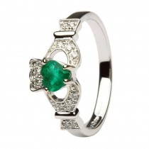 Ladies Claddagh Emerald And Diamond White Gold Engagement  Set