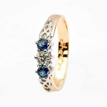 Sapphire and diamond celtic ring 14k yellow and white gold 3 stone