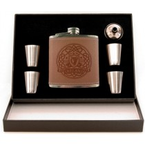 5 pc. Leather Irish Celtic Harp Flask Box Set