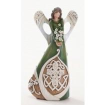Irish Angel Figurine with Celtic Cross and Shamrocks