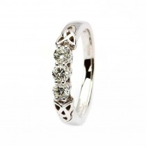 Celtic trinity diamond ring 14k white gold 3 stone .33ct