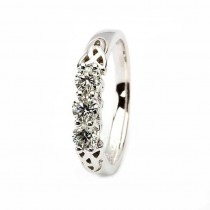 Celtic engagement ring 14k white gold 3 stone .50ct