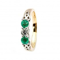 Diamond and Emerald Trinity Knot Design Ring