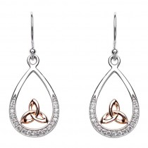 Trinity Knot Stone Set Rose Gold Plated Earring