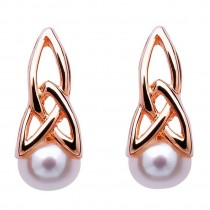 Celtic Silver Pearl Rose Gold Plated Earrings