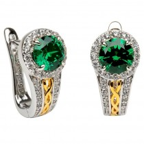 Celtic Silver Green Cz Halo Earrings