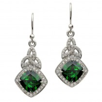 Trinity Knot Green CZ Halo Earrings