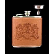 Irish Coat-of-Arms Leather Flask Box Set - with funnel