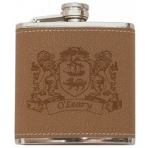 Irish Coat-of-Arms Leather Flask