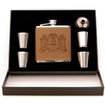 Irish Coat-of-Arms Leather Flask 5 pc Box Set