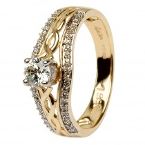 14K Yellow Gold Pave Set Diamond Engagement Ring with Celtic Knot Design