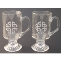 Irish Coffee Glasses Pair Etched Irish Celtic Knot