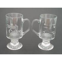 Irish Coffee Glasses Pair Etched Irish Recipe