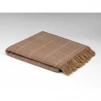 Caramel Windowpane Lambswool Irish Throw