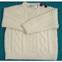 Aran Crew Button Infant Sweater