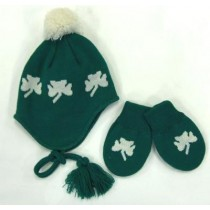 Irish Shamrock Infant Cap and Mittens Set