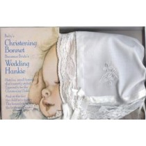 Irish Christening Bonnet Hankie with Shamrock