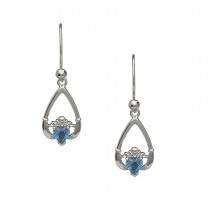 December-Blue Topaz Birthstone Claddagh Earring