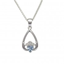 March-Aquamarine Birthstone Claddagh Pendant