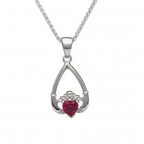 July-Ruby Birthstone Claddagh Pendant