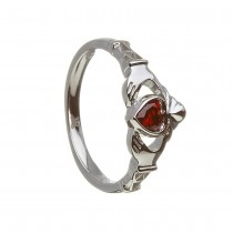 January-Garnet Birthstone Claddagh Ring