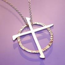 Modern Celtic Cross Sterling Silver Pendant