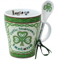 Celtic Shamrock Irish Coffee Mug and Spoon Set