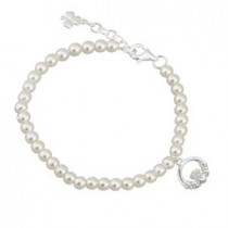 Childrens Irish Claddagh Pearl Bracelet