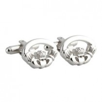Irish Claddagh Silver Plated Mens Cufflinks