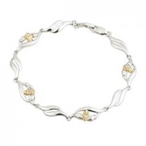 Claddagh Diamonds Two Tone Sterling Silver Bracelet
