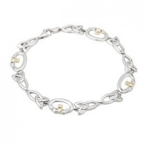 Claddagh Trinity Two Tone Sterling Silver Bracelet