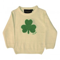 Cream Irish Knit Kids Sweater with Green Shamrock